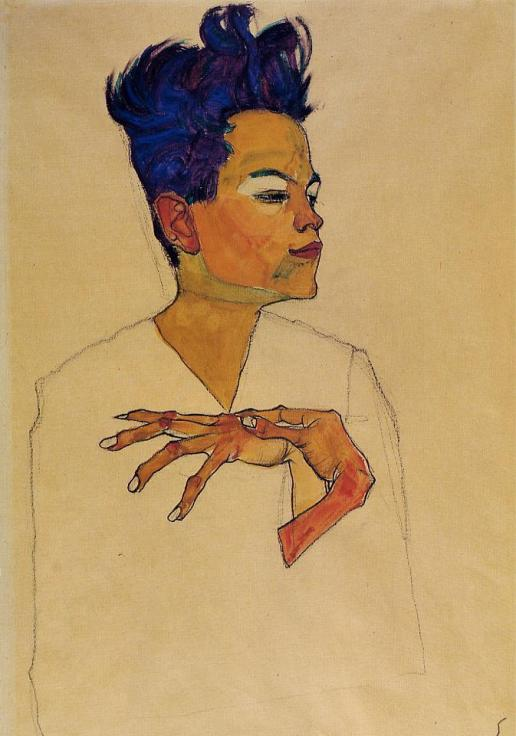 egon schiele self-portrait-with-hands-on-chest-1910