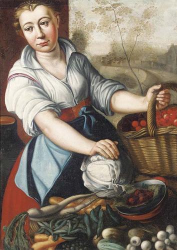 Joachim-Beuckelaer-A-vegetable-seller-2-Oil-Painting