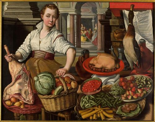 Joaquin Beuckelaer  -Joachim-Beuckelaer-Kitchen-piece-set-against-Jesus-at-Martha-and-Mary-Oil-Painting