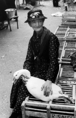 FRANCE, CAHORS, 1959, LA FEMME A L OIE