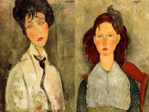 Modigliani-Portrait-of-a-Woman-in-a-Black-Tie-and-Seated-Young-Girl