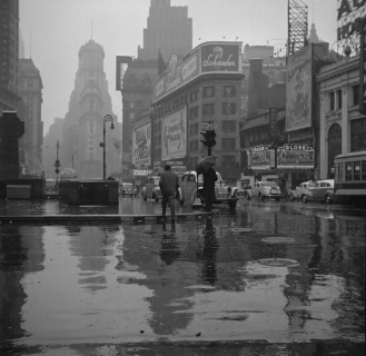 Times Square on a rainy day